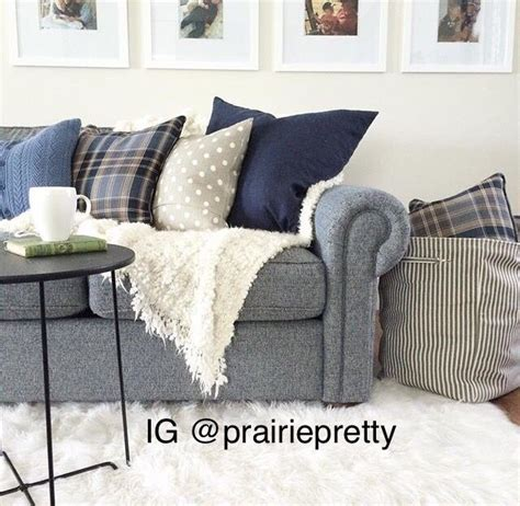 navy blue sofa farmhouse transitional couch living room
