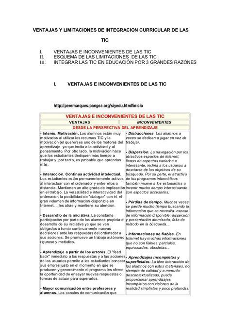 Ventajas Y Desventajas Modelo Curricular De ventajas y limitaciones de integracion curricular de las