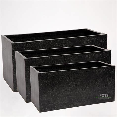black oblong planters