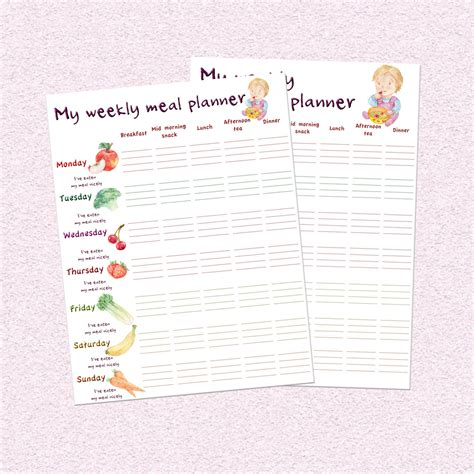 printable meal planner for baby toddler weekly meal planner downloadable feeding schedule