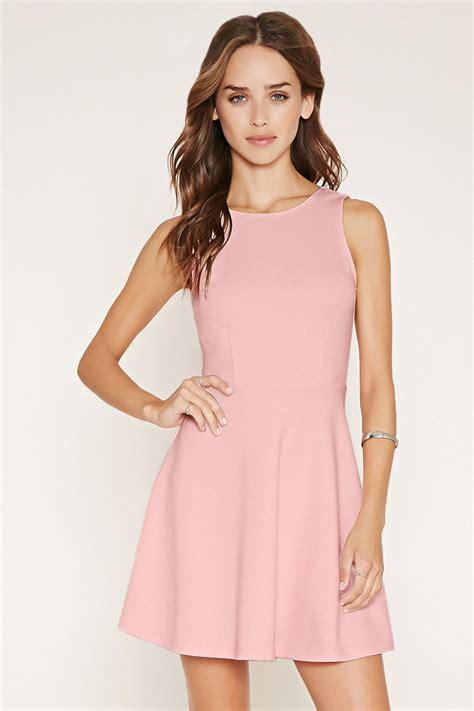 Dress Forever 21 forever 21 v back skater dress in pink lyst