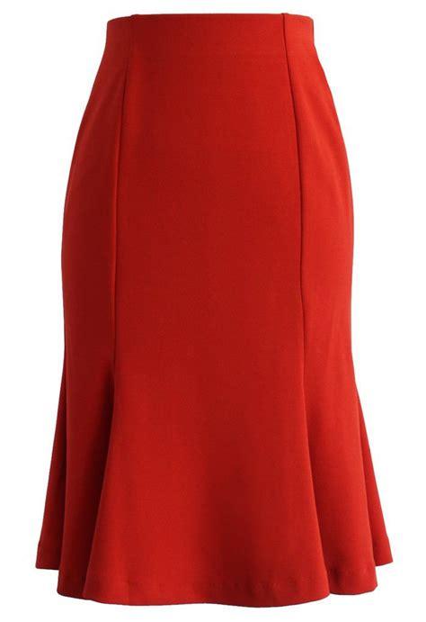 Paneled Denim Flare Mini Skirt frill hem paneled pencil skirt in orange faldas