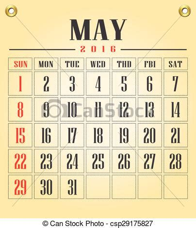 Kalender 2016 Mai Vektor Illustration Mai Kalender 2016 Kalender