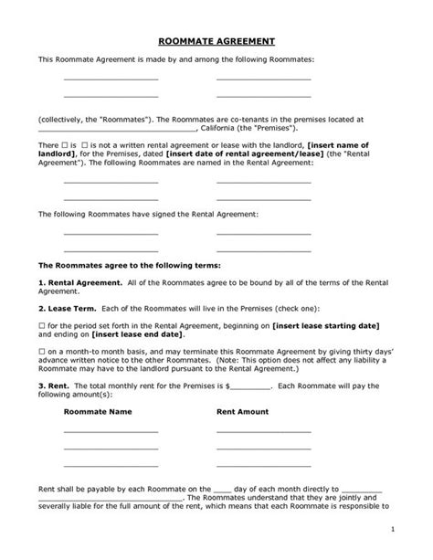Printable Sle Roommate Agreement Form Form Real Estate Forms In 2019 Pinterest Roommate Roommate Rental Agreement Template