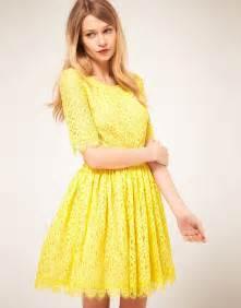 Galerry lace dress uk yellow
