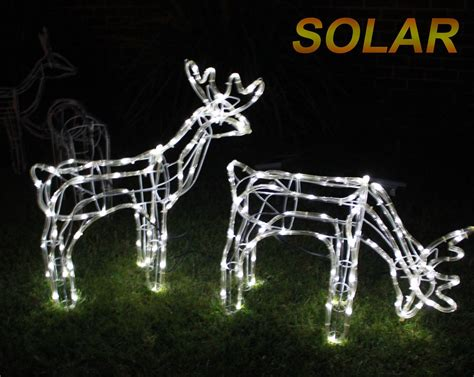 rope lighted christmas deer solar set of 2 3d led reindeer motif deer rope light cool white ebay