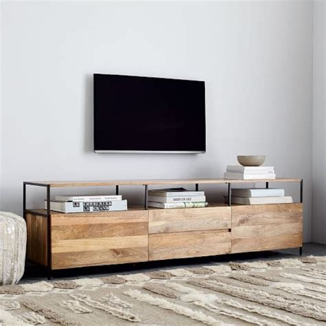 industrial media console industrial storage media console 203cm west elm au