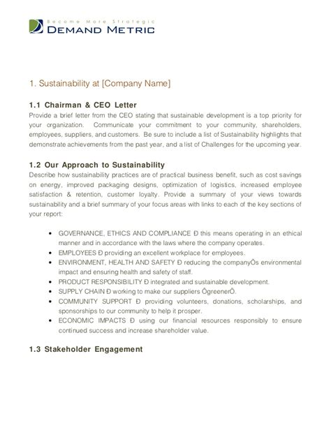 environmental sustainability report template sustainability report template