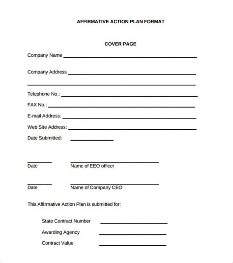 affirmative action plan template 9 download documents