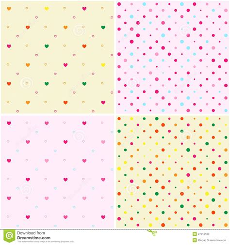 dot pattern heart set of polka dot heart seamless patterns royalty free