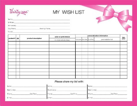 wish list template playbestonlinegames