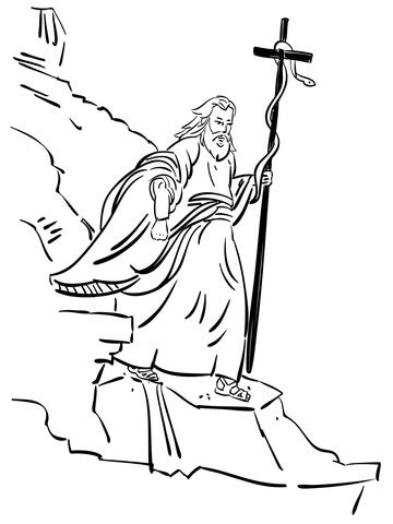 bronze snake coloring page moses walking with bronze serpent coloring page