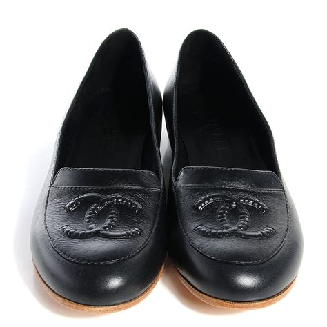 chanel black loafers chanel leather cc loafers 39 black 74950