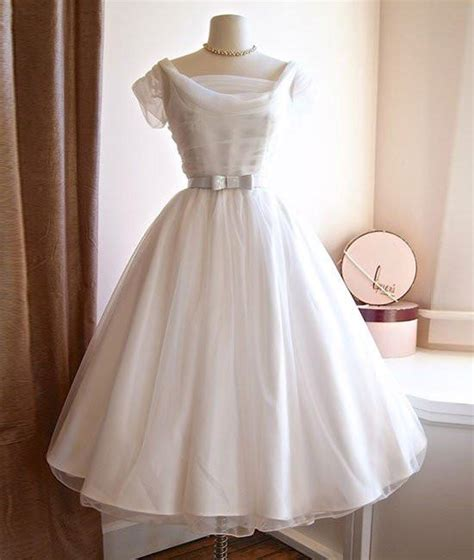 white retro wedding dresses neck white tulle retro prom dresses retro