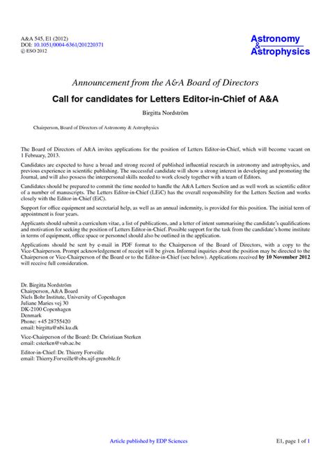 business letter salutation board of directors announcement from the a a board of directors call for