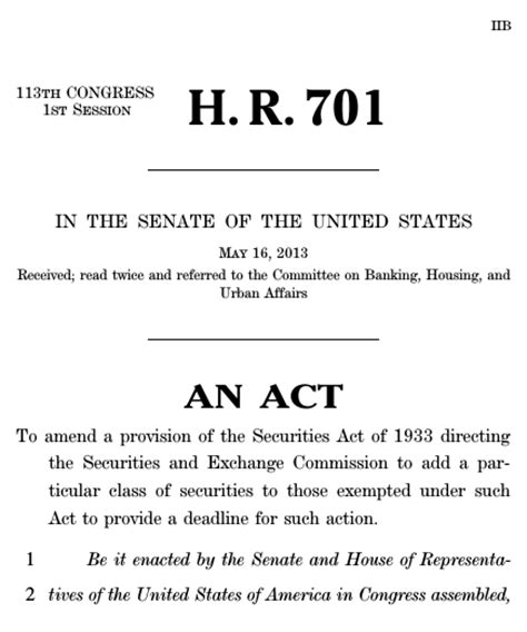 securities act of 1933 section 4 to amend a provision of the securities act of 1933