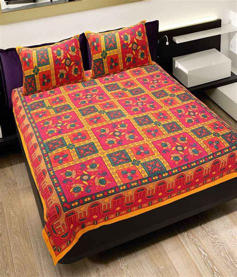 bed sheets and pillow covers rangasthali rajasthani sanganeri print double bed sheet with 2 pillow covers buy rangasthali