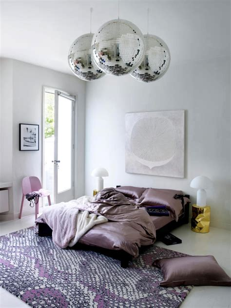 satin disco balls  pink print interior design ideas