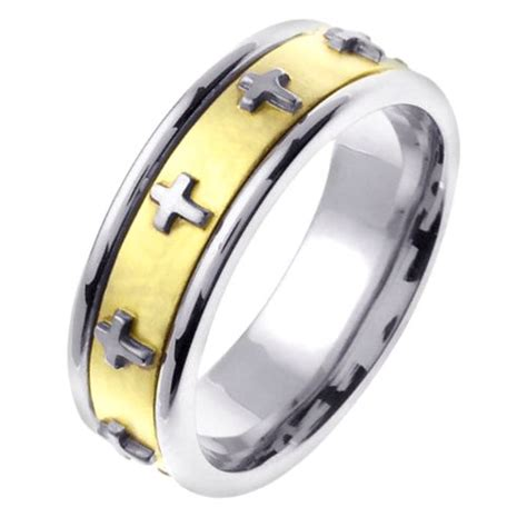 Wedding Bands With Crosses by 46104 14k Two Tone Cross Wedding Band