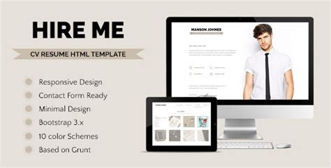 themeforest resume hireme responsive resume template by terranetmd