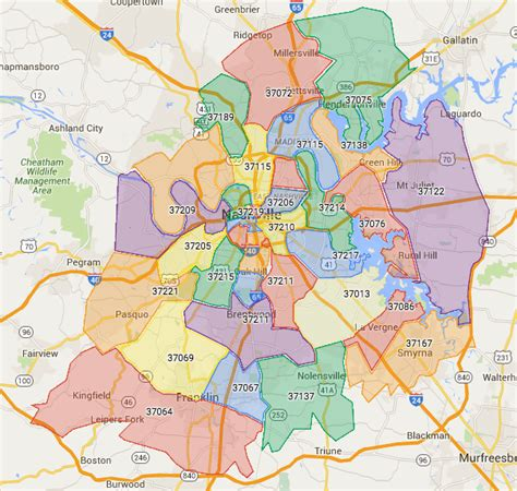 map of nashville area nashville zip codes search all homes for sale by zip code