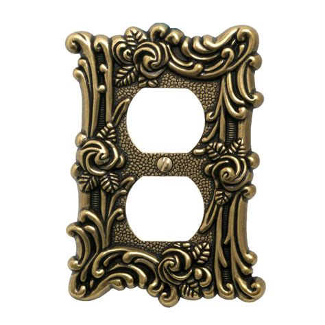 Swan Plumbing Rosebud by Amerelle Provinicial 1 Duplex Wall Plate Antique Brass