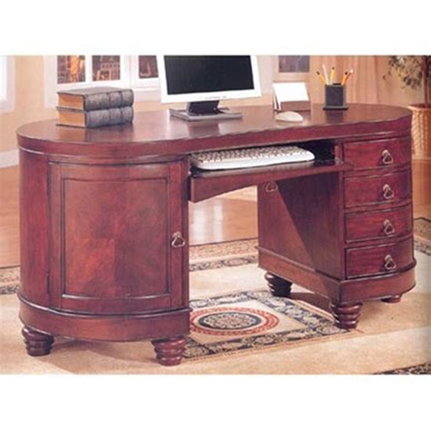 Kidney Shaped Computer Desk Home Office Kidney Shaped Computer Desk In Brown Cherry Finish By Coaster 800571