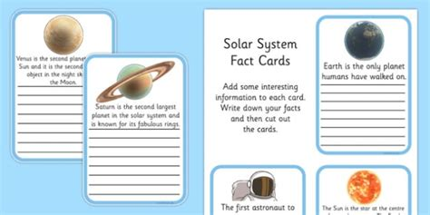 solar system trading cards template high school finish the solar system fact cards esl solar system