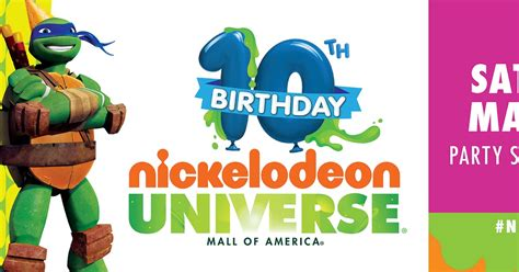 birthday themes website nickalive nickelodeon universe at moa to celebrate 10th