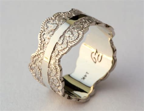 White Gold white gold wedding band with lace texture white gold band