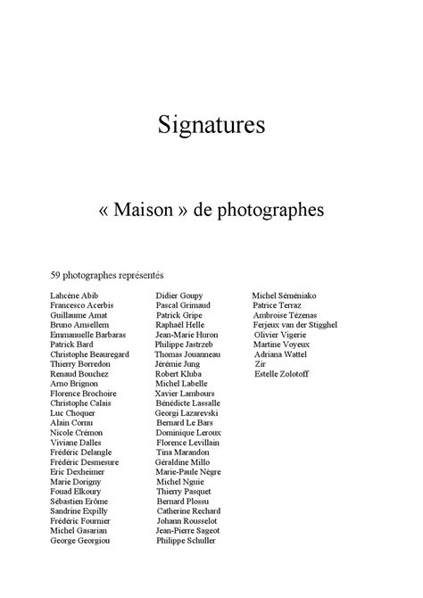 "Signatures, ""maison"" de photographes by alice labrousse"