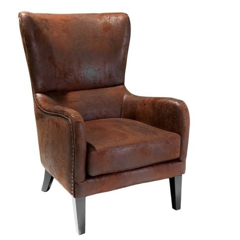 Armchair Organizers Trent Home Columbus Fabric Studded Club Chair In Brown