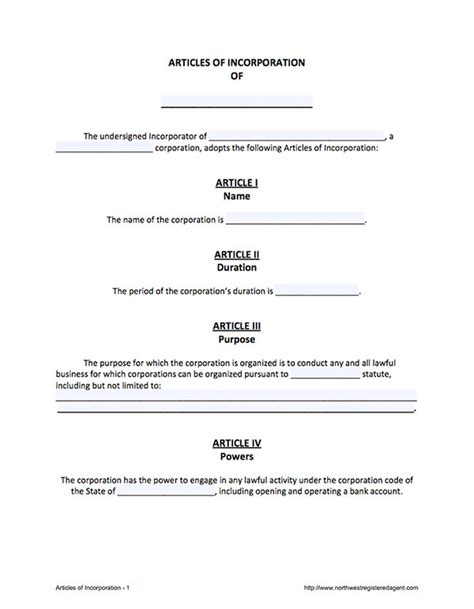 articles of incorporation free template form