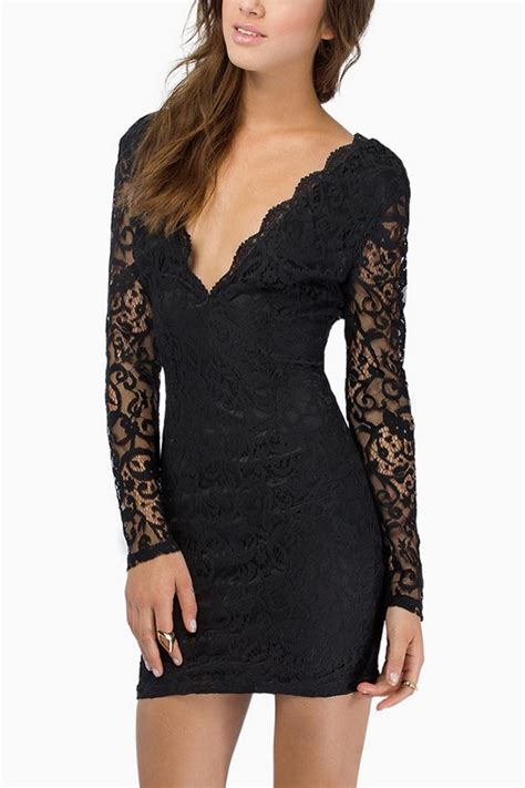 black lace  neck long sleeve sexy party dress  long