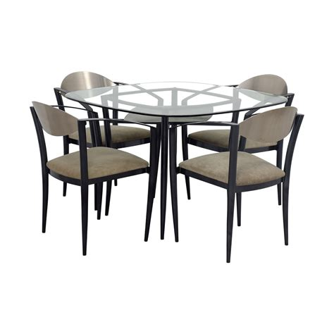 metal and glass dining table and chairs 77 glass dining table with metal and beige chairs