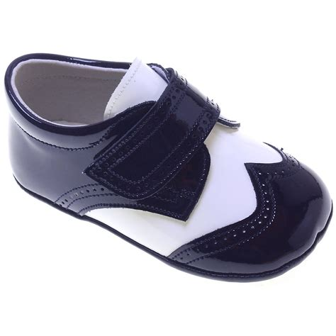 and boys shoes baby boys navy and white patent pram shoes cachet