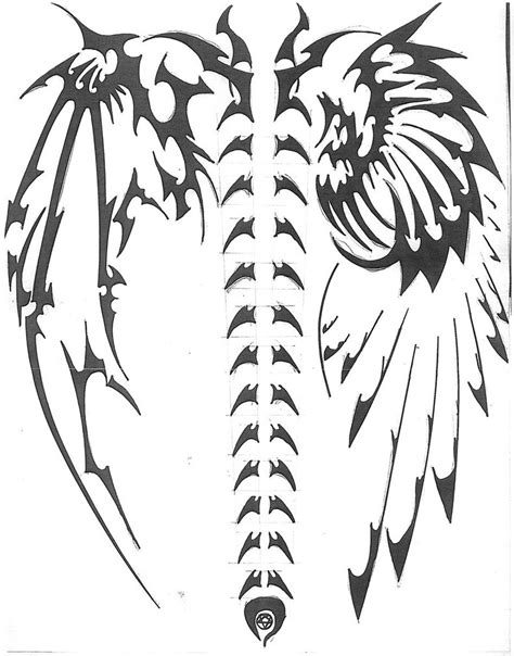 devil wings tattoo designs tribal pencil and in color tribal