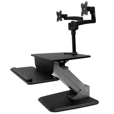 sit stand desk adapter sit stand workstation dual display mount startech