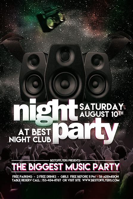 Party Night Free Poster And Flyer Template Download Free Flyer Designs Celebration Flyer Template Free