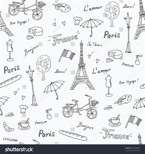 travel pattern in french seamless pattern paris french symbolslandmarkstravel icons