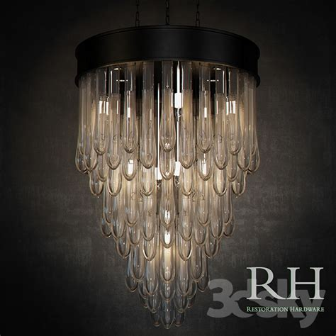 6 Light Pendant Chandelier 3d Models Ceiling Light Rh Teardrop Glass Chandelier