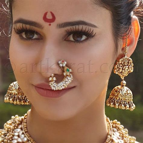 traditional nose piercing traditional marathi nose ring and jhumka earrings