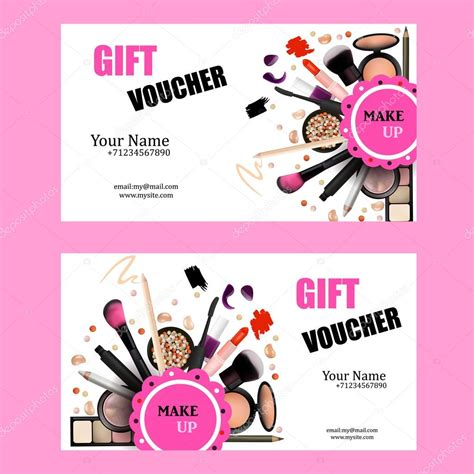 make up cards gift voucher card design set cosmetic products for make