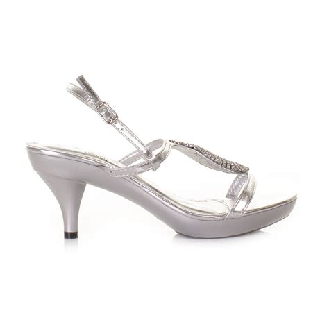 low heel silver strappy slingback prom wedding shoes