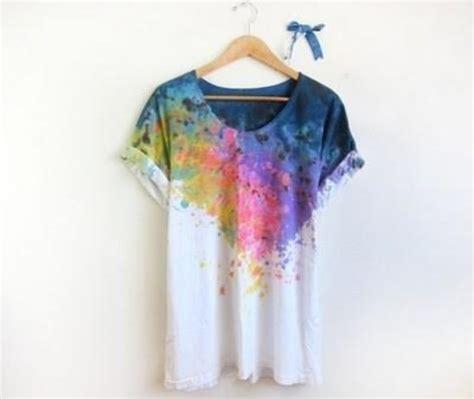 Blouse Batik Isna Green White T shirt painting rainbow colorful artist splatter