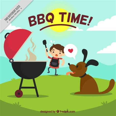 barbecue time background vector free download