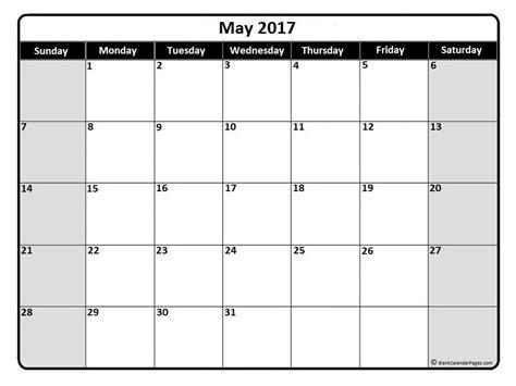 More Calendars May 2017 Monthly Calendar Printable Printable Calendars