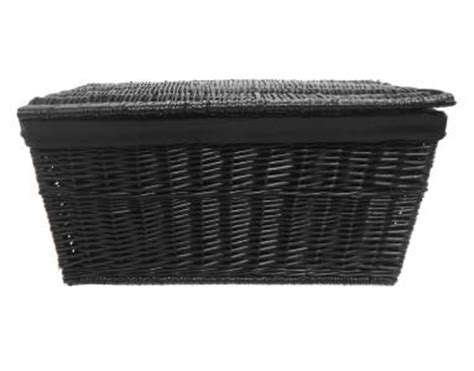 shabby chic white grey black strong wicker storage chest