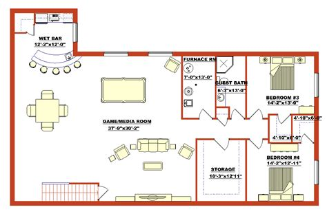 how to design basement floor plan high quality finished basement plans 5 finished walk out