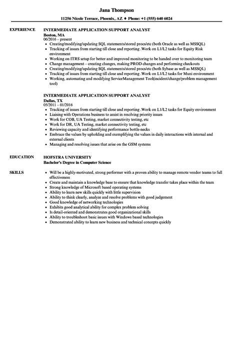 application support experience resume format intermediate application support analyst resume sles velvet